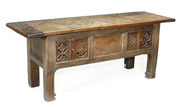 An oak rent table, 16th century and later
