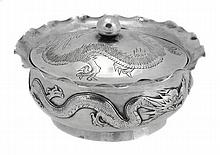 A Chinese export silver preserve dish and cover by