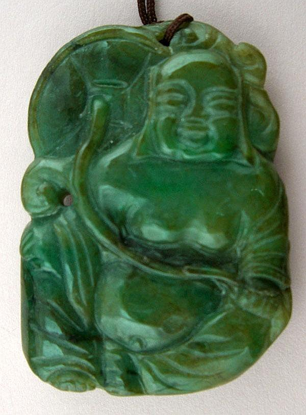 CHINESE CARVED GREEN JADE FIGURE OF BUDDHA, H 2 1/4