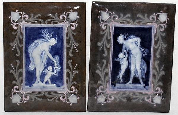 LOUIS SOLON DECORATED PATE-SUR-PATE PORCELAIN PLAQUES, C. 1865, PAIR, 9