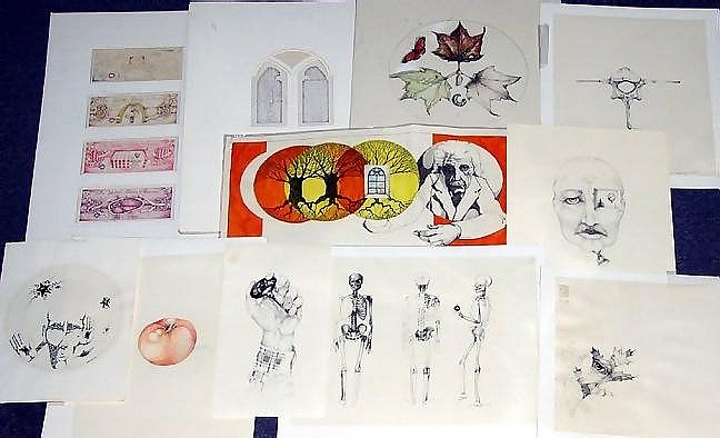 MICHAEL KOZMIUK [AMERICAN CONTEMPORARY], PENCIL, INK & WATERCOLOR STUDENT WORKS, 11, EARLY 1970'S: