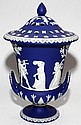 WEDGWOOD DARK BLUE JASPER BOUGH POT, 19TH C., H 16