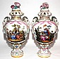 KPM/ROYAL PORCELAIN MANUFACTORY PORCELAIN COVERED URNS, 19TH C., PAIR, H 26