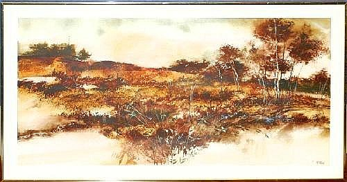 FRITZ MAYHEW, WATERCOLOR, 18in X 36in, NORTHERN MICHIGAN AUTUMN LANDSCAPE Artist also known as