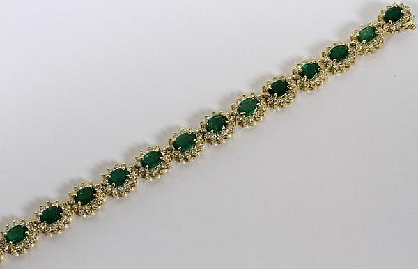 16.33CT NATURAL EMERALD & 10.00CT DIAMOND BRACELET, L 7 5/16''