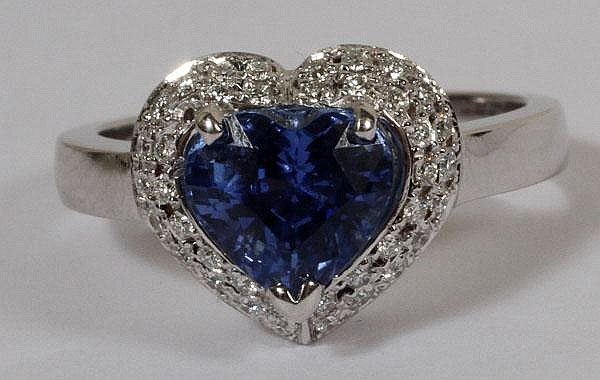 2.58CT NATURAL UNHEATED HEART SAPPHIRE & DIAMOND RING, 7, GIA