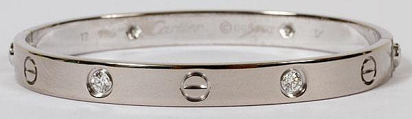 CARTIER 18KT WHITE GOLD & DIAMOND 'LOVE' BRACELET