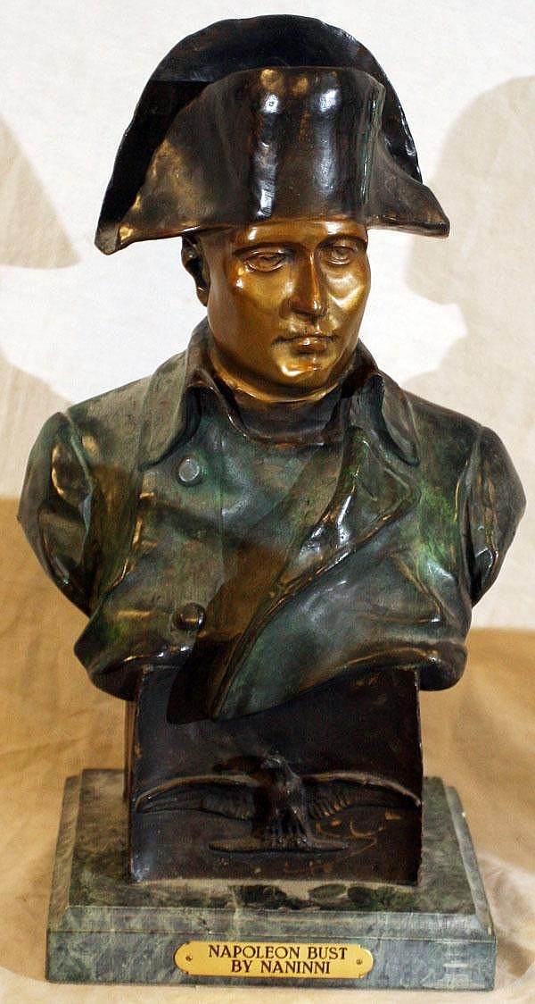 AFTER NANINNI, BRONZE BUST OF NAPOLEON, H 15