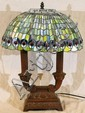LEADED GLASS TABLE LAMP, MODERN, H 21
