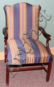 MAHOGANY OPEN ARM CHAIR, H 36