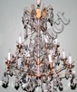 BRASS & CRYSTAL TWELVE LIGHT CHANDELIERS, PAIR, H 36
