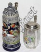 GERMAN GLASS & EARTHENWARE STEINS, TWO, H 7