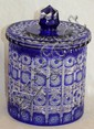 BOHEMIAN COBALT TO CLEAR CUT GLASS BISCUIT BARREL, H 8