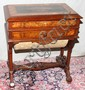 BURL WALNUT, MARQUETRY & EBONIZED SEWING STAND, LATE 19TH C., H 30