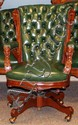 VICTORIAN STYLE WALNUT & GREEN TUFTED LEATHER SWIVEL CHAIR, H 40