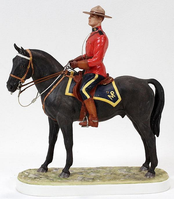 DORIS LINDNER FOR ROYAL WORCESTER, PORCELAIN FIGURE 'ROYAL CANADIAN MOUNTED POLICEMAN', H 11