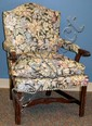 ENGLISH STYLE ARMCHAIR, TAPESTRY UPHOLSTERY