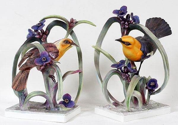 DOROTHY DOUGHTY FOR ROYAL WORCESTER, PORCELAIN YELLOW HEADED BLACKBIRDS, PAIR, H 11