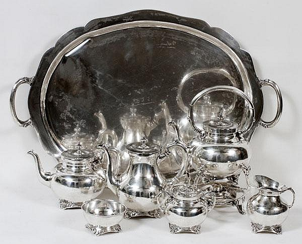 MEXICAN STERLING TEA & COFFEE SERVICE, MID 20TH CENTURY, SEVEN PIECES