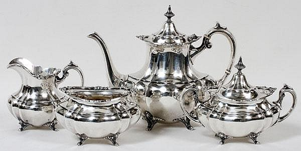 REED & BARTON 'HAMPTON COURT' STERLING TEA SET, C. 1952-54, FOUR PIECES