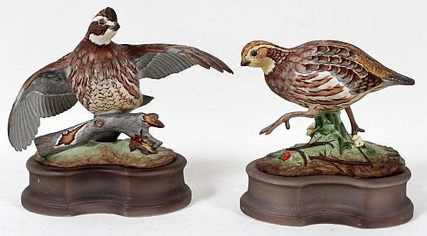 BOEHM PORCELAIN BOBWHITE QUAILS, TWO, H 4 1/2