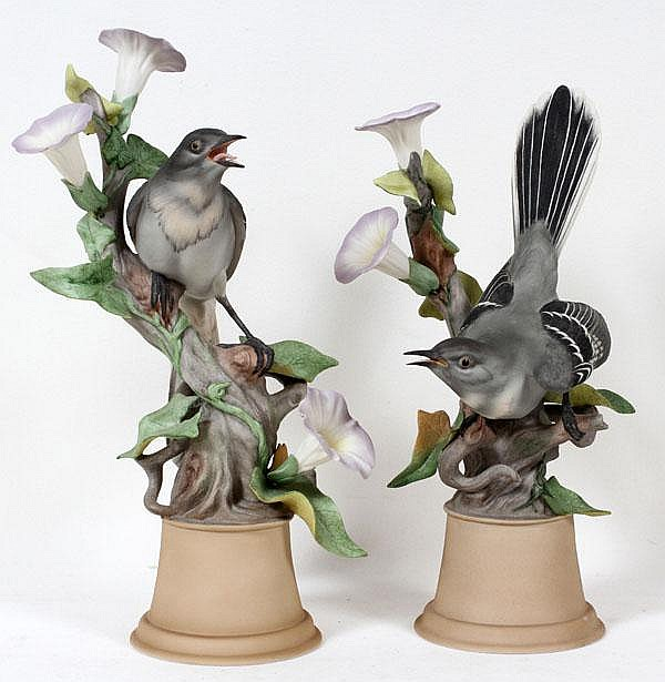BOEHM PORCELAIN MOCKINGBIRDS, TWO, H 12