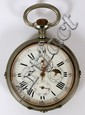 SILVER OPEN FACE CALENDAR & MOON DIAL POCKET WATCH, ANTIQUE, DIA 3