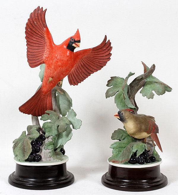 BOEHM PORCELAIN CARDINAL SCULPTURES, TWO, H 11
