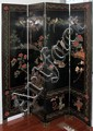 CHINESE COROMANDEL LACQUER FOUR-PANEL SCREEN, H