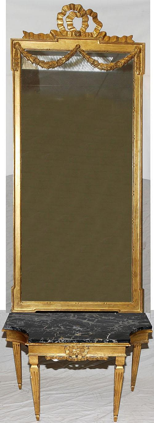 GILT CARVED WOOD AND MARBLE TOP PIER MIRROR AND