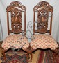 ENGLISH CARVED WALNUT SIDE CHAIRS, C. 1930, PAIR: