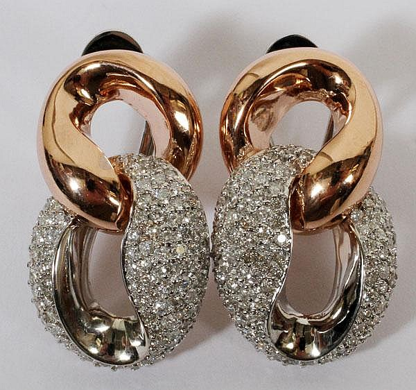 2.60CT DIAMOND & 14KT PINK & WHITE GOLD EARRINGS,