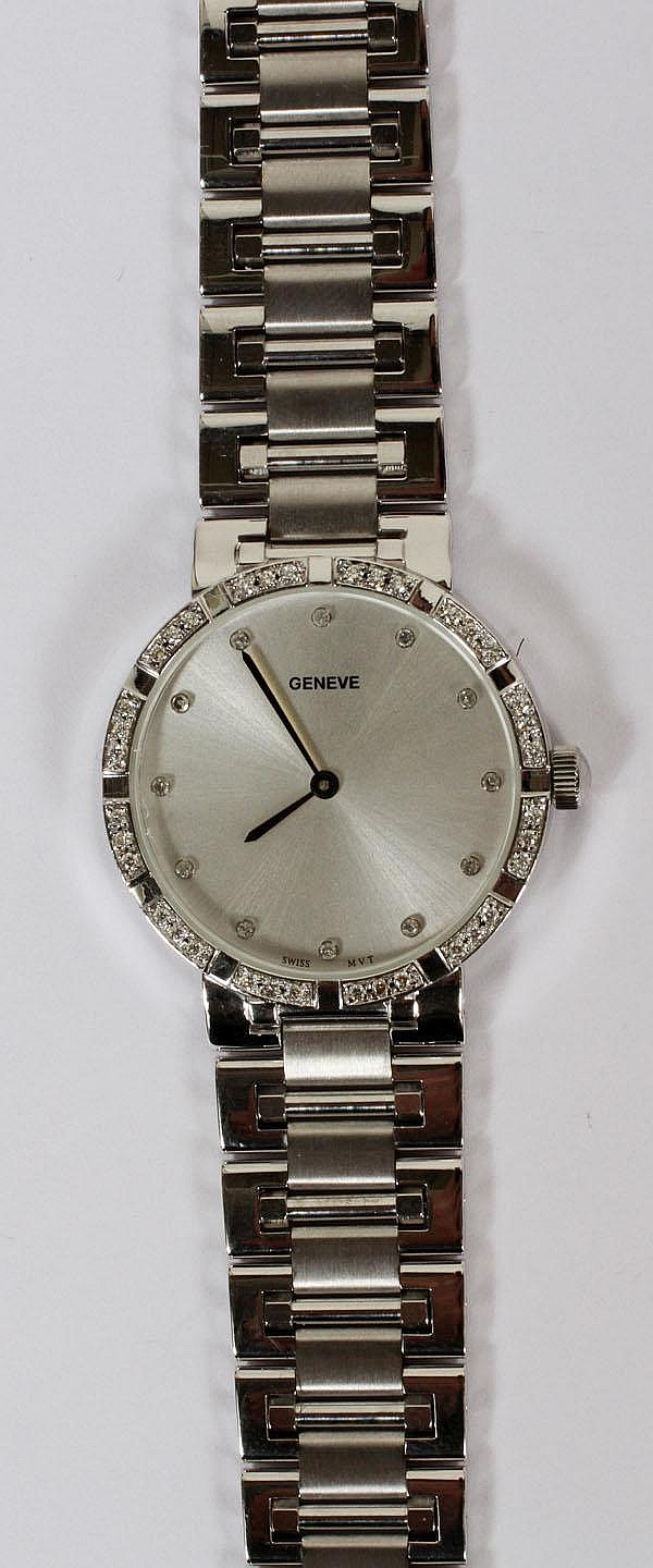 MEN'S 18KT WHITE GOLD & .50CT DIAMOND GENÈVE SWISS