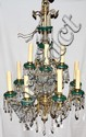ITALIAN CRYSTAL AND BRASS TWELVE LIGHT CHANDELIER,
