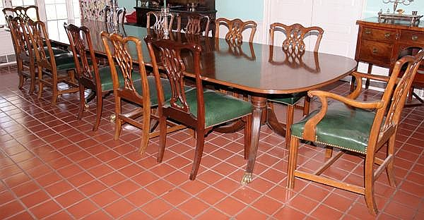 IRISH GEORGIAN STYLE MAHOGANY FIVE-PEDESTAL BANQUET TABLE, H 30