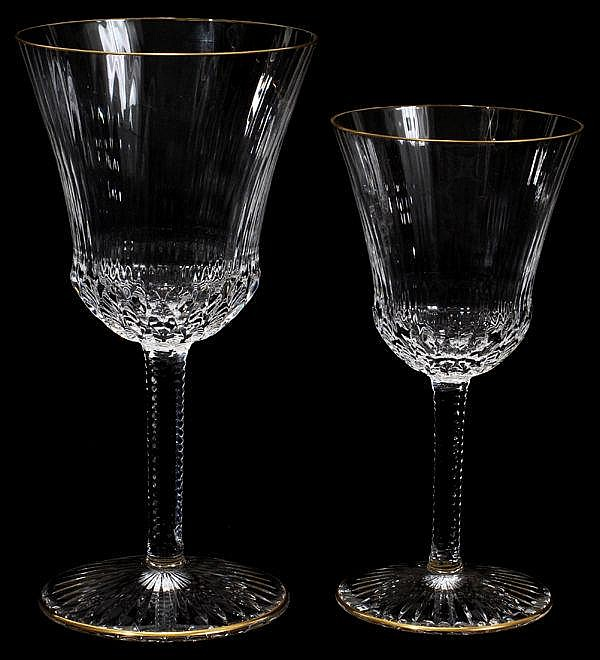 ST. LOUIS 'APOLLO GOLD' CUT CRYSTAL STEMWARE,