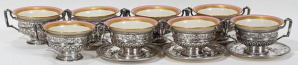 INTERNATIONAL 'MARIE ANTOINETTE' STERLING CREAM SOUPS [8] & STANDS [6] WITH LENOX LINERS, C. 1920