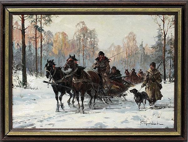 WLADYSLAW T. CHEMIELINSKI [POLISH B. 1895], OIL ON CANVAS, TROIKA HUNTING PARTY, 14