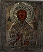 RUSSIAN OKLAD ICON OF ST. NICHOLAS, 8 1/2