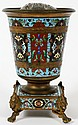 FRENCH D'ORE BRONZE & CHAMPLEVÉ URN ON STAND, LATE 19TH-EARLY 20TH C., H 7