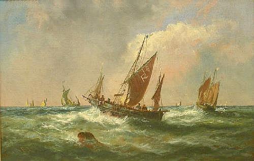 Edwina Lara (c19th): Fishing boats in choppy seas