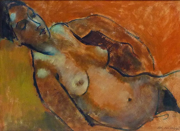 Neil Helyard (1951-): Sleeping nude, oil on board
