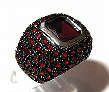 .925 STERLING SILVER & FAUX RUBY RING