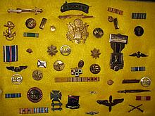 COLLECTION OF VINTAGE MILITARY PINS BADGES BUTTONS