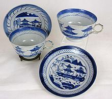 PAIR CHINESE CANTON CERAMIC TEA CUPS 19TH C.