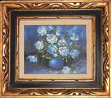 SIGNED OIL ON CANVAS BLUE ROSES