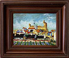 BRUNOY FRENCH IMPASTO OIL ON CANVAS TOWNSCAPE