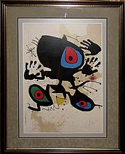 AFTER JOAN MIRO ABSTRACT OFFSET LITHOGRAPH
