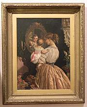 STYLE OF JAMES SANT MOTHER AND CHILD OIL ON CANVAS
