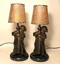 PAIR MEDNAT FRENCH SPELTER FIGURAL LAMPS